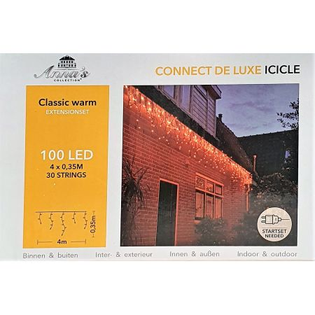 100-lamps LED ijspegelverlichting, koppelbaar, 400x35cm lampjes, Connectable Deluxe classic warm